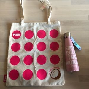 VS PINK Coconut Tote Bag And Sip Water Bottle